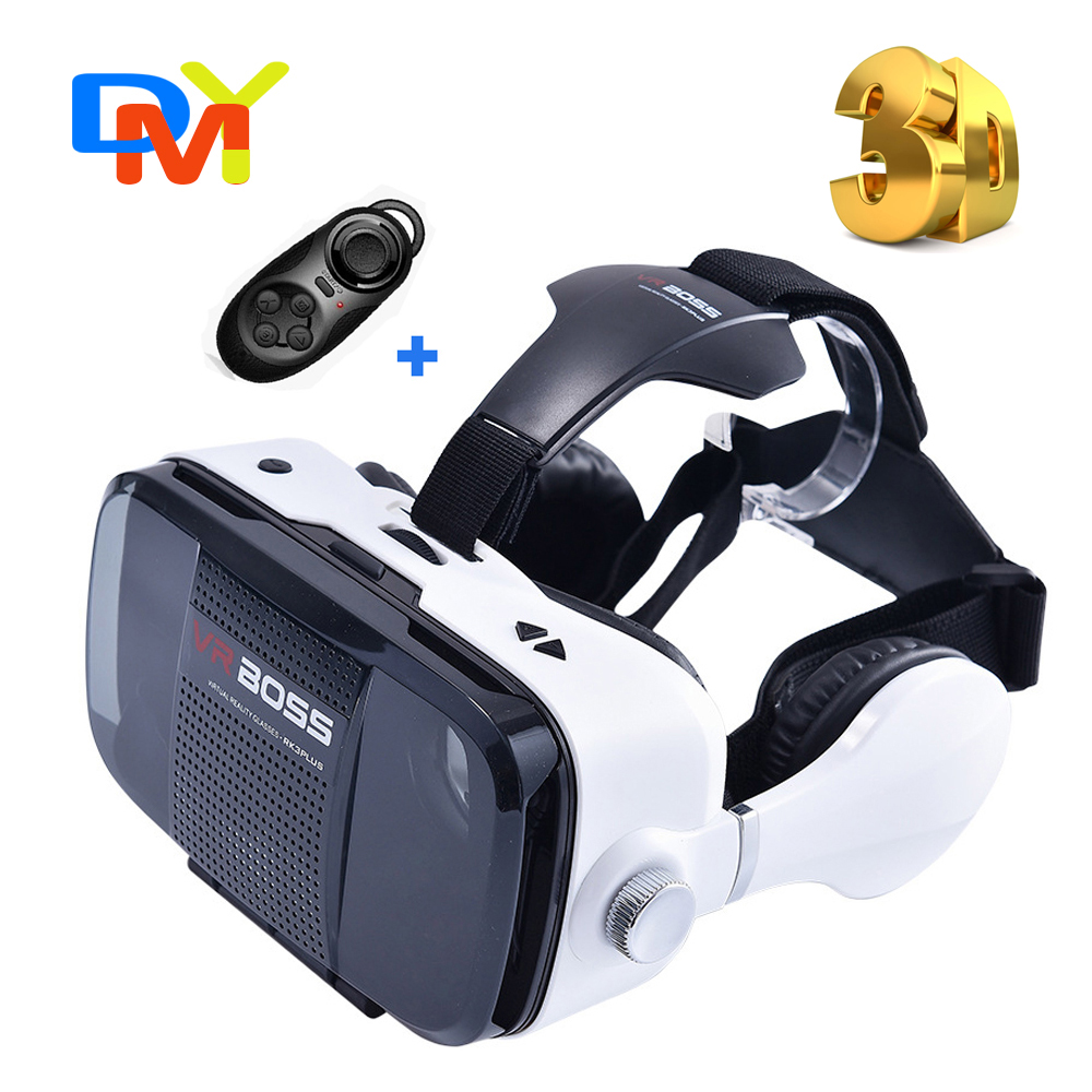<font><b>VR</b></font> 2016 Google Cardboard 3D Movie <font><b>Glasses</b></font> <font><b>VR</b></font> <font><b>BOSS</b></font> <font><b>with</b></font> <font><b>earphone</b></font> MIC <font><b>Virtual</b></font> <font><b>Reality</b></font> 3D Galasses+Bluetooth Remote Controller