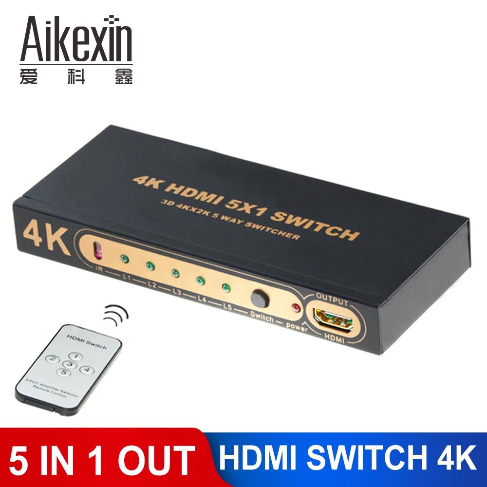 Aikexin 5 5x1 Controle Remoto IR suporte porta HDMI Switcher 1080 P 4 K x 2 K 5 entrada 1 5 para 1 interruptor de saída hdmi switcher