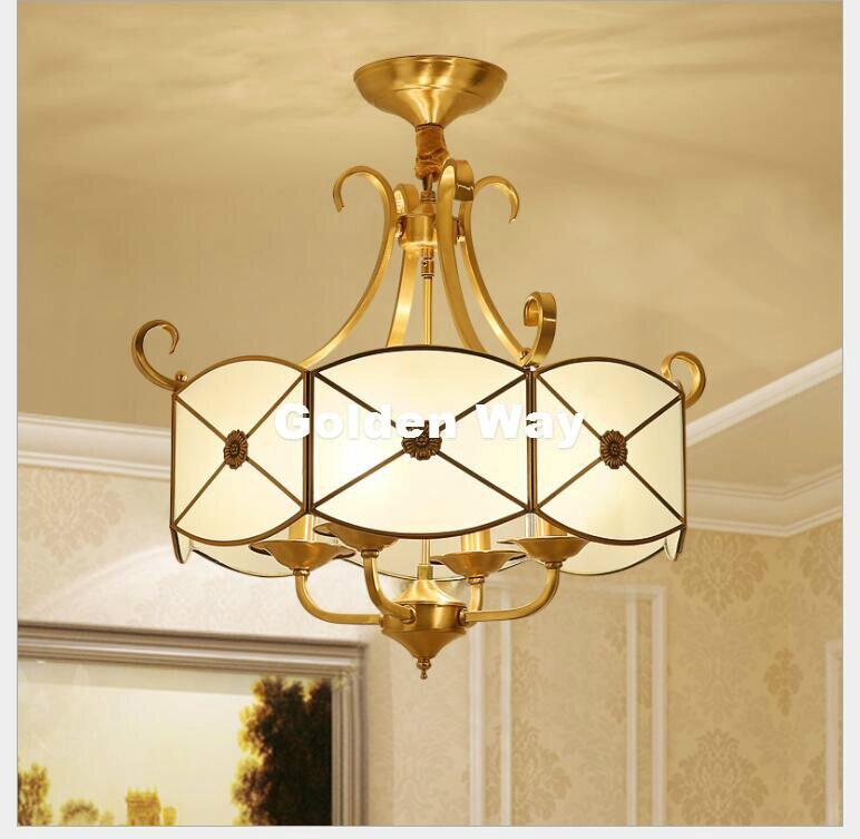 Free Shipping 4L D640mm H540mm LED Brass Pendant Lamp  4Lights  Vintage 100% Copper Glass AC110V/220V Glass Shade Pendant Light|Pendant Lights| |  - title=