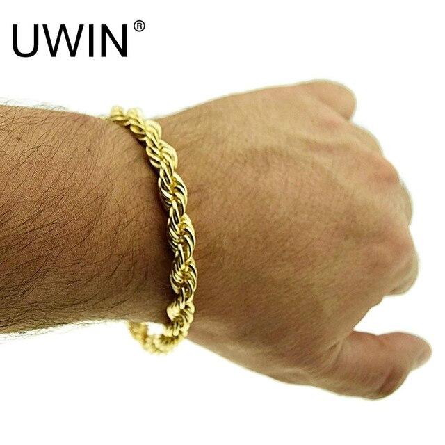 3bc86fbf6d70 € 4.28 10% de DESCUENTO|UWIN cuerda pulsera oro plata 8 pulgadas x 5 MM  grueso hombres trenzado cadena Hip hop pulsera en Cadena y del Acoplamiento  ...