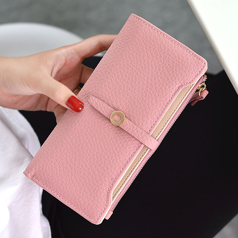 4fd855327eb7 US $7.09 29% OFF New Women Simple Long Wallet Two Fold Zipper Hasp Purse  Solid Button Money Bag Design Coin Purse Card Holder Phone Female Wallet-in  ...