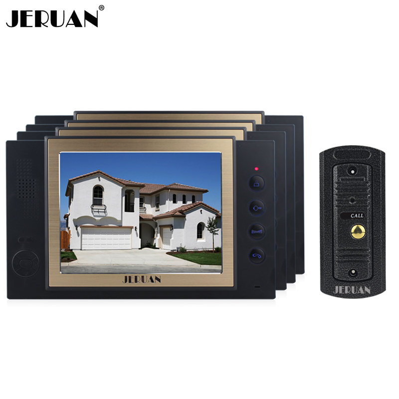 JERUAN Home 8 inch LCD video door phone doorbell record intercom system 4 house + waterproof IR Night vision pinhole Camera homefong 4 inch monitor lcd color video record door phone doorbell intercom system night vision 1200tvl high resolution