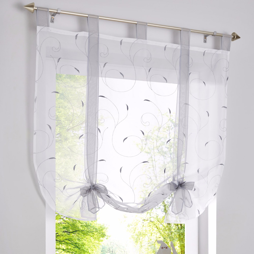 Kitchen short sheer curtains burnout roman blinds sheer panel tulle window treatment dl002c in curtains from home garden on aliexpress com alibaba group