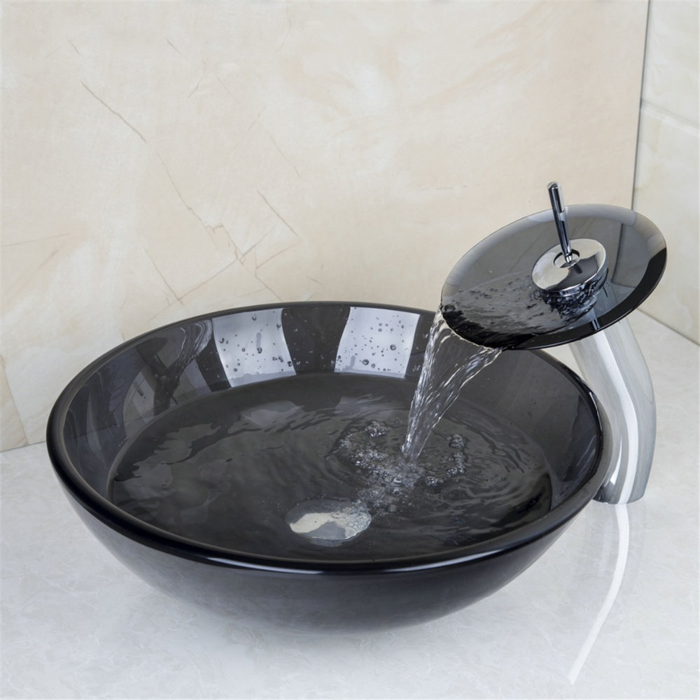 US Bathroom Round Tempered Glass Above Counter Wash Basin Cloakroom Counter  Top Vessel Sink Hand Painting