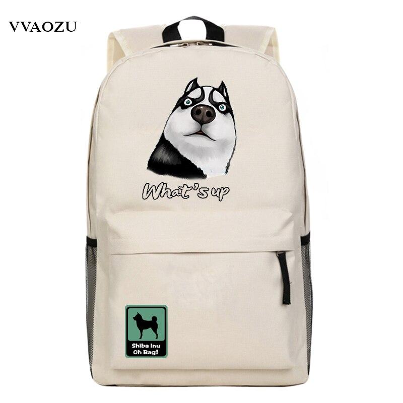 Harajuku Husky Funny Expression Backpack Animal Hiba Inu Doge Knapsack School Shoulder Bag Book Bags Mochila for Teenagers