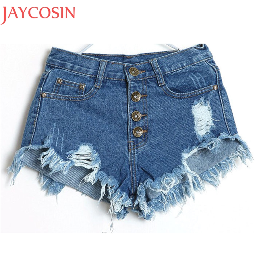 Summer Denim Shorts Women Fashion Ripped Hole Short Jeans Casual Lady High Waist Skinny Tassel Shorts Girl Bottom Pantalon Dec30 nibesser hole ripped jean shorts woman high waist knee length pockets washed casual denim shorts summer jeans pantalon femme
