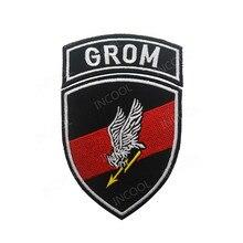 Remendo polonês do bordado grom polónia remendos decorativos militares tático tecido de combate nacional bordados emblemas
