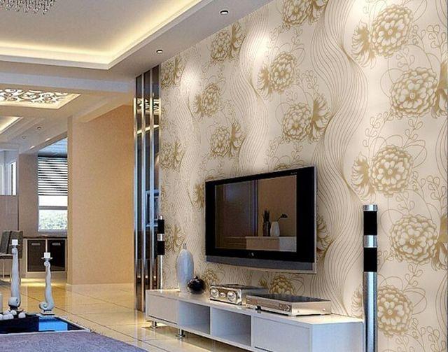 Glitter europeo flash peonia wallpaper rullo per pareti moderna