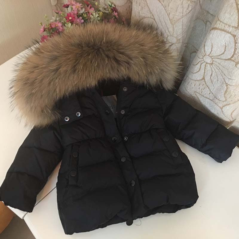 2018 Children Winter Down Jacket for Girls Boys Kids Duck Down Jacket Big Raccon Fur Hooded Warm Parka Kids Parkas das hassliche entlein cd
