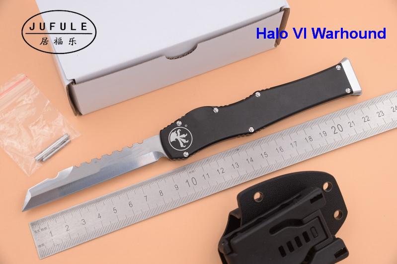 JUFULE 2018 Warhound Halo VI 6 D2 blade aluminum handle camping survival outdoor EDC Tactical hunting tool dinner kitchen knife dicoria made halo iv 4 troodon d2 blade aluminum handle camping hunting survival outdoor edc tool dinner kitchen knife set