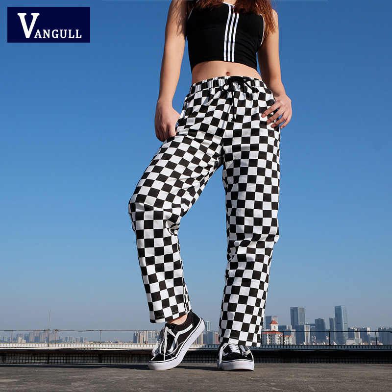 Vangull Black White Plaid Pants Women Trousers 2019 New Spring Fashion High Waist Checkered Straight Loose Casual Sweatpants