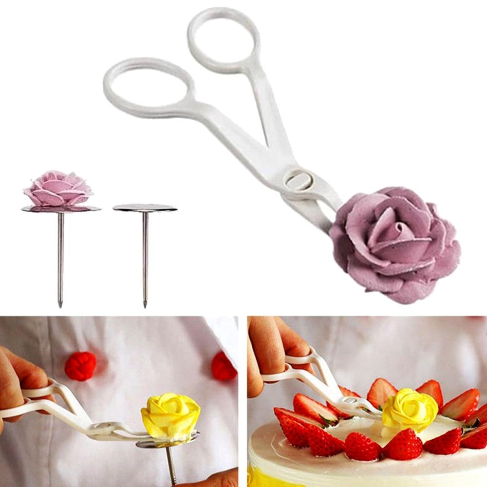 Ciseaux fleur pour les ongles, ciseaux de sécurité montés en Rose, pour motifs de décoration, gâteau Fondant, transfert crème, outils de pâtisserie, 2 pièces