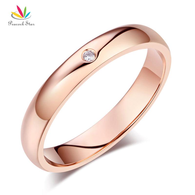 Peacock Star Women Solid 14K Rose Gold Bridal Wedding Band Ring 0.01 Ct Natural Diamond