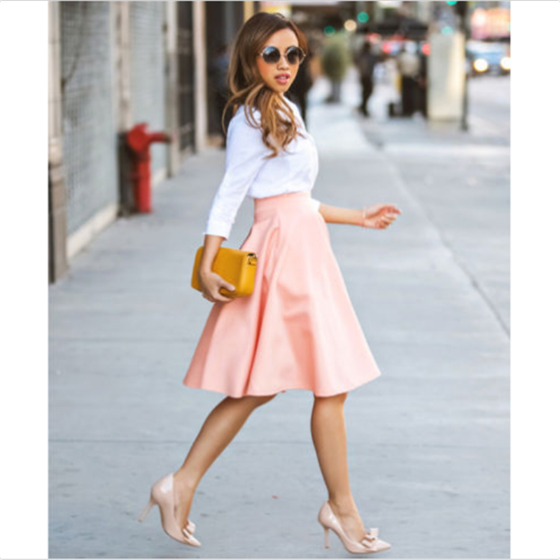 Plus Size Women's Midi Skirt 2019 Summer Casual High Waist Pleated Skirt Loose Office Lady Vintage Swing Flared Plain Clothes