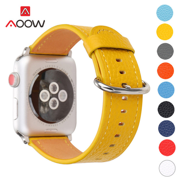 Genuine Leather Watchband for Apple Watch 38 42mm 40 44mm Fashion Simple Yellow Replacement Bracelet Band Strap for iwatch 123 4