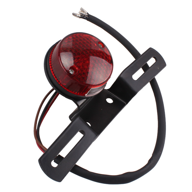 Motorcycle LED Round Taillight Assembly Fits Harleys Choppers Custom Bobber Cafe Racer 883 Red Rear license Brake Tail light
