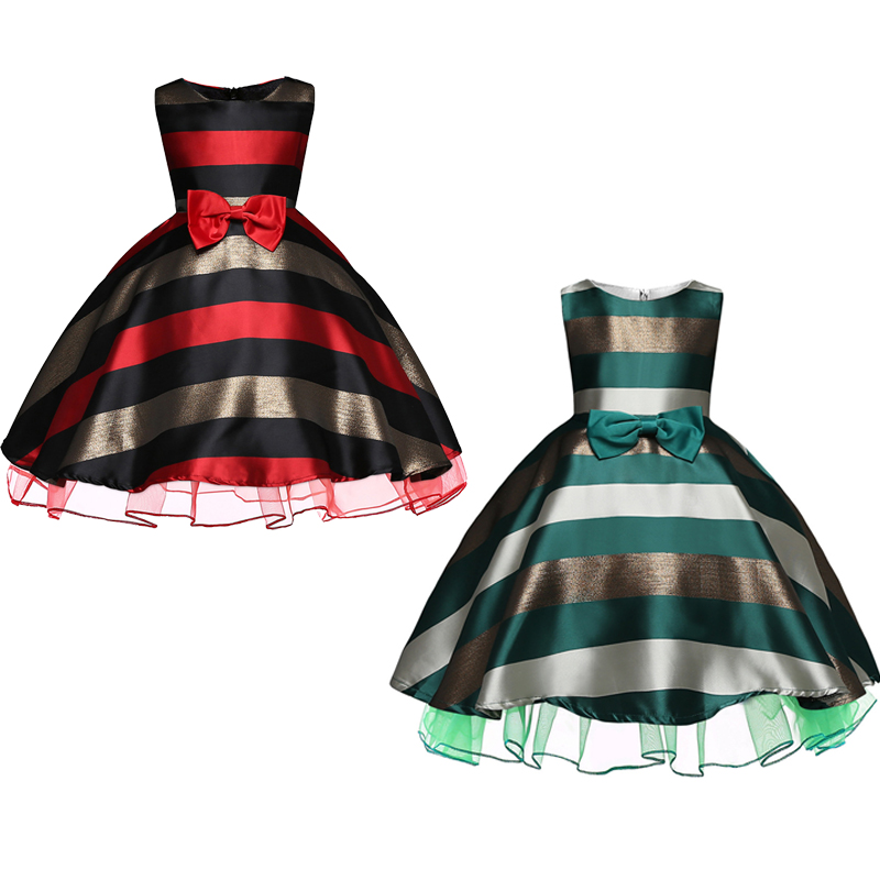 2 Colors Striped Dress for Girls Formal Wedding Party Dresses Kids Princess Christmas Dress Costume Children Girls Clothing in Girls Costumes from Novelty Special Use