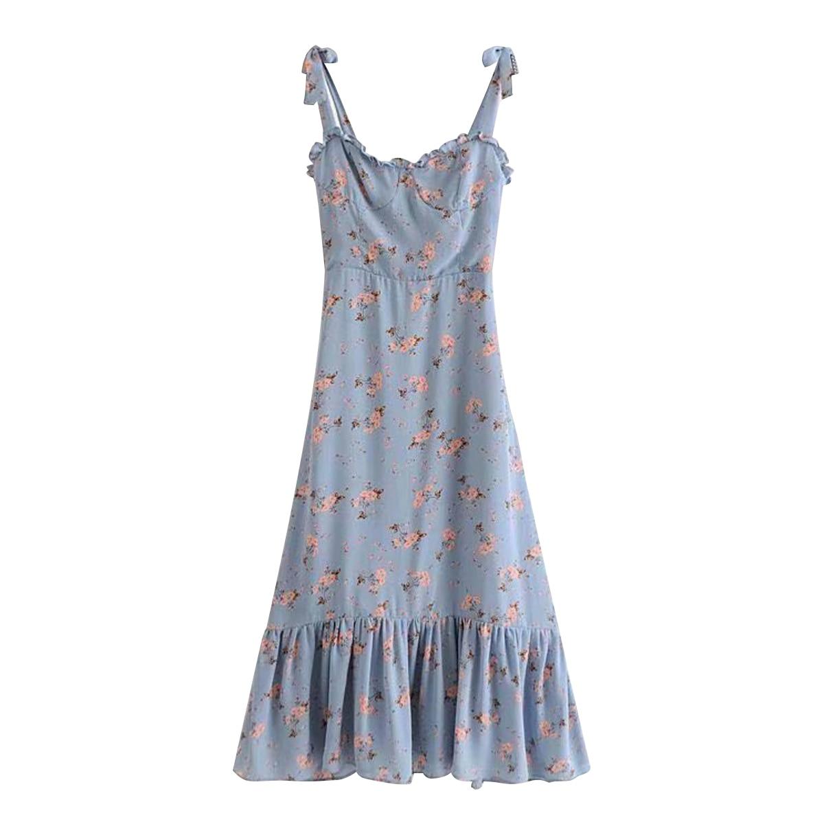 d2d782988e897 Nikita Blue Chic Midi Dress Women Summer Sleeveless Strapless Ruffles Sexy  Dresses 2019 Vintage Elegant Floral Printed Dress - lztees