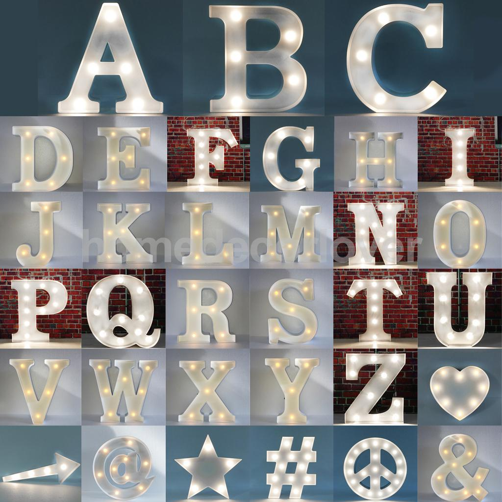 12inch White Led Letter Light Vintage Circus Style Alphabet Up Sign A To N