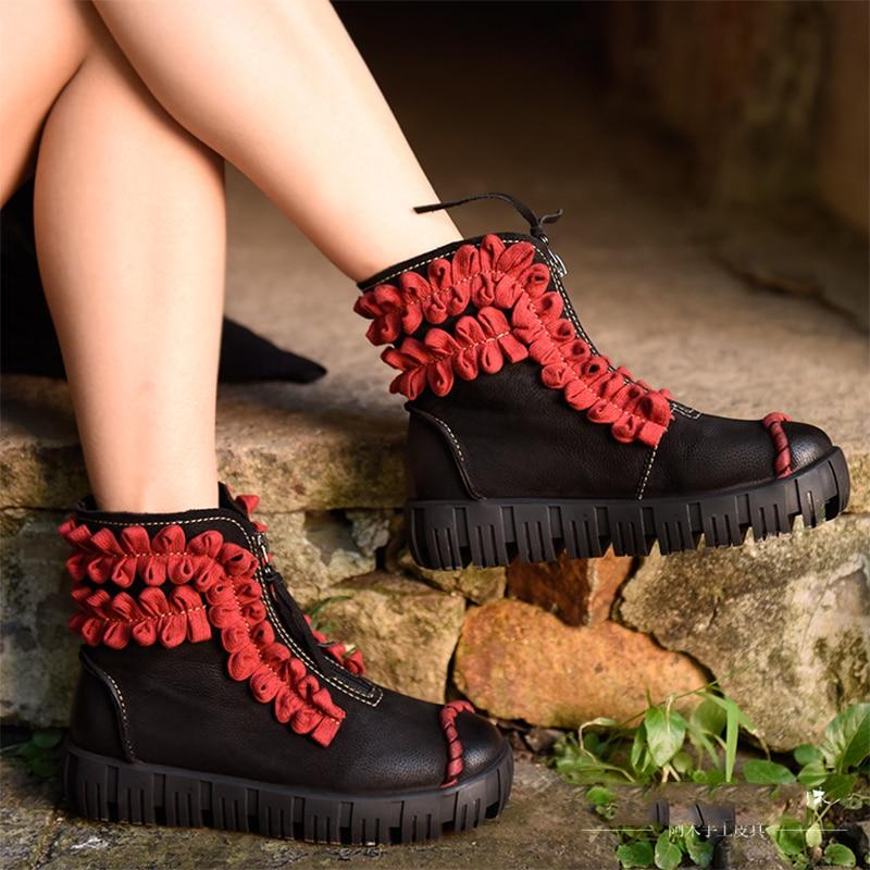 Artmu Retro Ankle Boots Women Flowers Shoes Handmade Cowhide Flat Heel Shoes Female Genuine Leather Shoes обувь для дома artmu a15acyn88co1