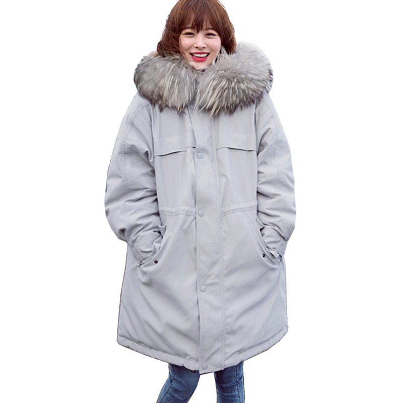 Real Raccoon Fur 2018 Winter Women 90% Duck   Down     coats   Long Parkas Female Slim Hooded Big Pockets Women Thick Warm   Down     Coat