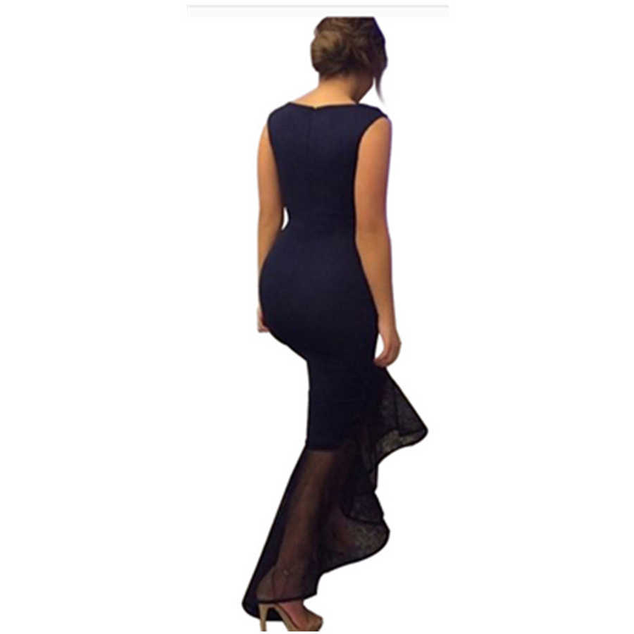 a5695605f6 ... Sexy Tight Fishtail Dress Women Sleeveless Round Neck Long Dress Female  Summer Irregular Party Red Maxi