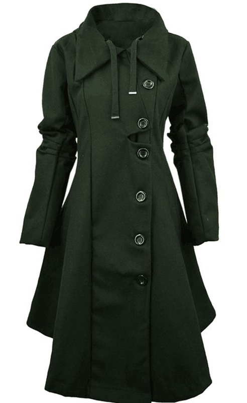 Asymmetric Black Green Coat Stand Collar Long Sleeve Women Overcoat Elegant Single Breasted Slim Fall Winter