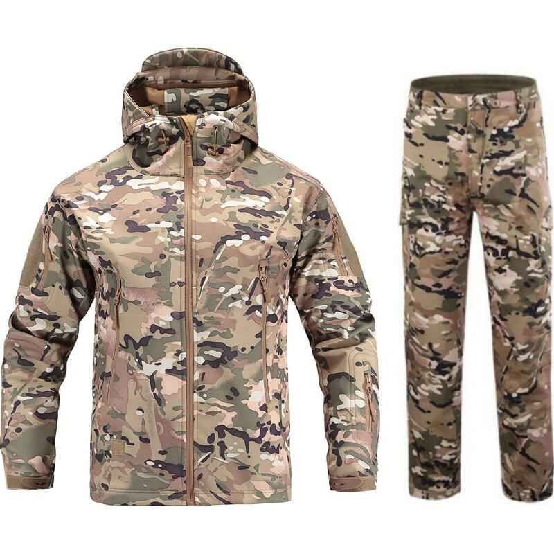 Autumn winter Camouflage hunting clothes suit Shark skin soft shell v 4.0 outdoor Hiking Warm waterproof fleece jacket pants цены онлайн