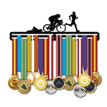 Triathlon medal hanger Sport rack Medal holder for swim,bike,run hold 36+ medals