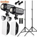 Godox 2x SL150W Photo Studio Accessori per Flash Kit di Illuminazione 5600K Lampada Della Luce Video Led + 2x Softbox 60X90 Centimetri + 2x Basamento Della Luce