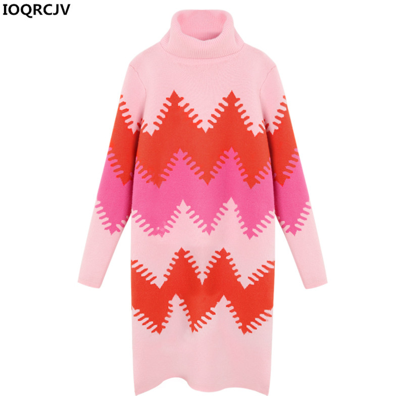 Women Turtleneck Pullover Knit Dress 2018 New Fashion Long-sleeved Winter Warm Pink Loose Sweater Dress Female Clothing AA17
