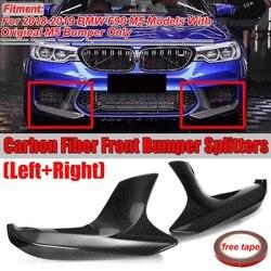 Nowy prawdziwe z włókna węglowego 2x F90 M5 przedni zderzak samochodowy Lip Splitter Spoiler dyfuzor osłona zabezpieczająca dla BMW F90 M5 2018 2019 w Zderzaki od Samochody i motocykle na