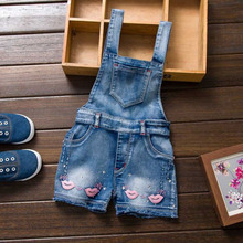 Summer Kid Girls Jumpsuit Cute Sweet Fashion Washed Jeans Denim Romper Jumpsuits Straps Short Pants Lip Pattern Baby Girl Pant