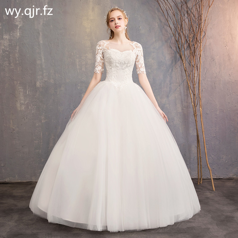 LYG H15#It's Ivory white wedding dress lace up Floor Length Bride's marriage dresses Ball Gown cheap wholesale-in Wedding Dresses from Weddings & Events    1