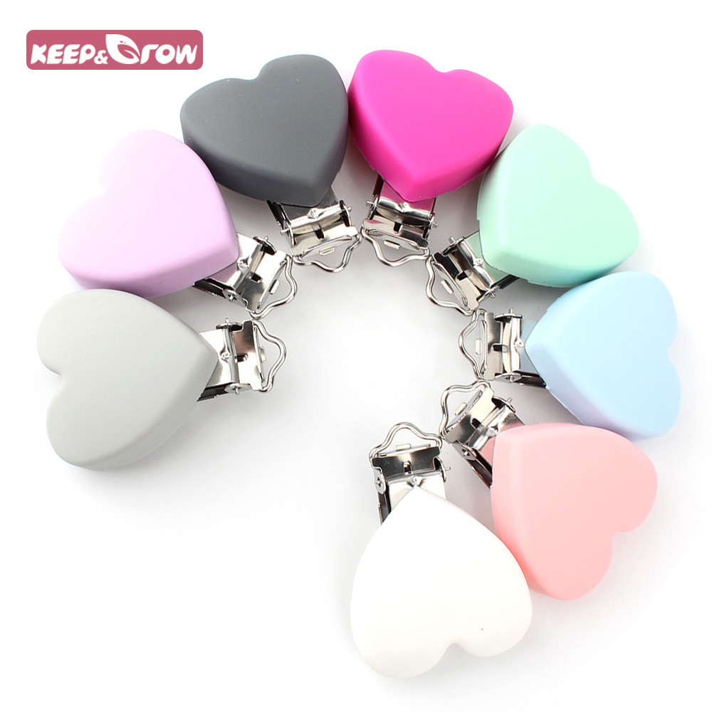 Keep&Grow 1Pc Heart Silicone Pacifier Clips Holder BPA Free Food Grade Silicone Teethers For Baby Teething Pacifier Chain Making