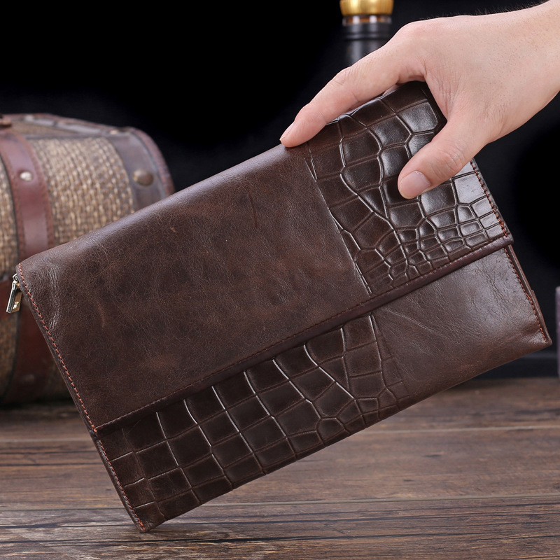 High Quality Genuine Leather Male Clutch Wallets Crocodile Pattern Cowhide Long Man Purse Big Capacity Men Notecase PR569053 brand unique design crocodile head pattern genuine leather men s wallets high quality by gmw007