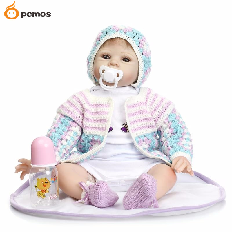 [PCMOS] 22inches Lifelike Brown Eyes Infant Newborn Reborn Dolls Soft Touch Vinyl Handmade 55cm Realistic Baby Toy Gift 16062442 футболка toy machine leopard brown