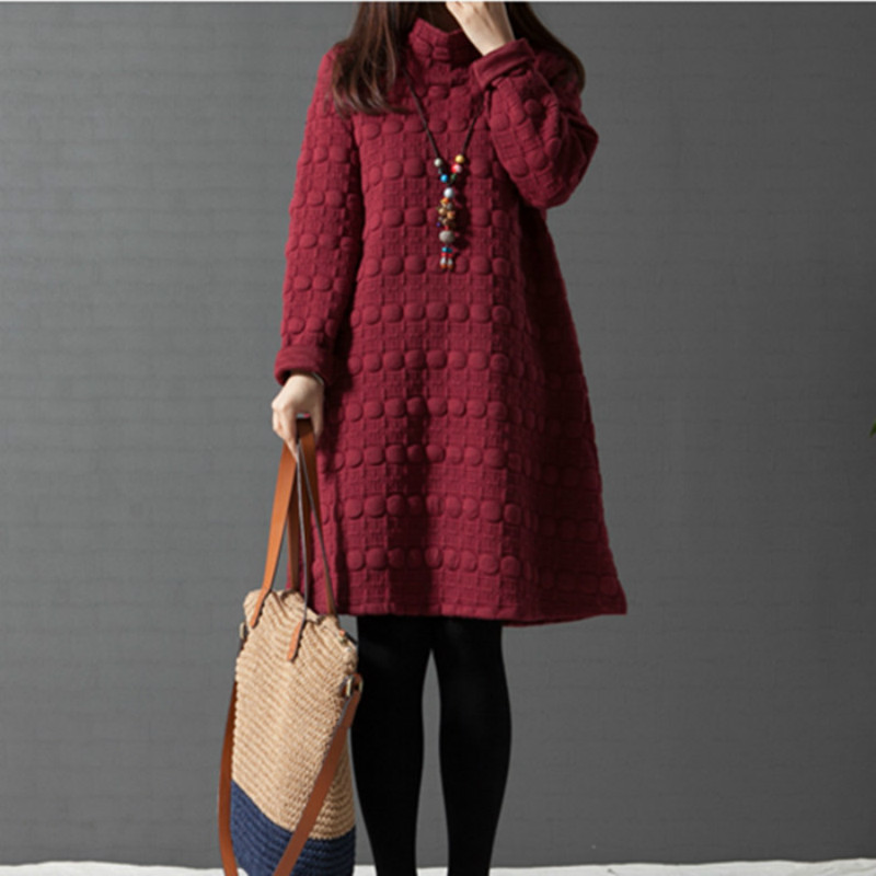 Fashion Autumn Winter Thicken Clothes Long-sleeved Plus Size Maternity Dress For Pregnant Women Loose Casual Warm Solid Dresses