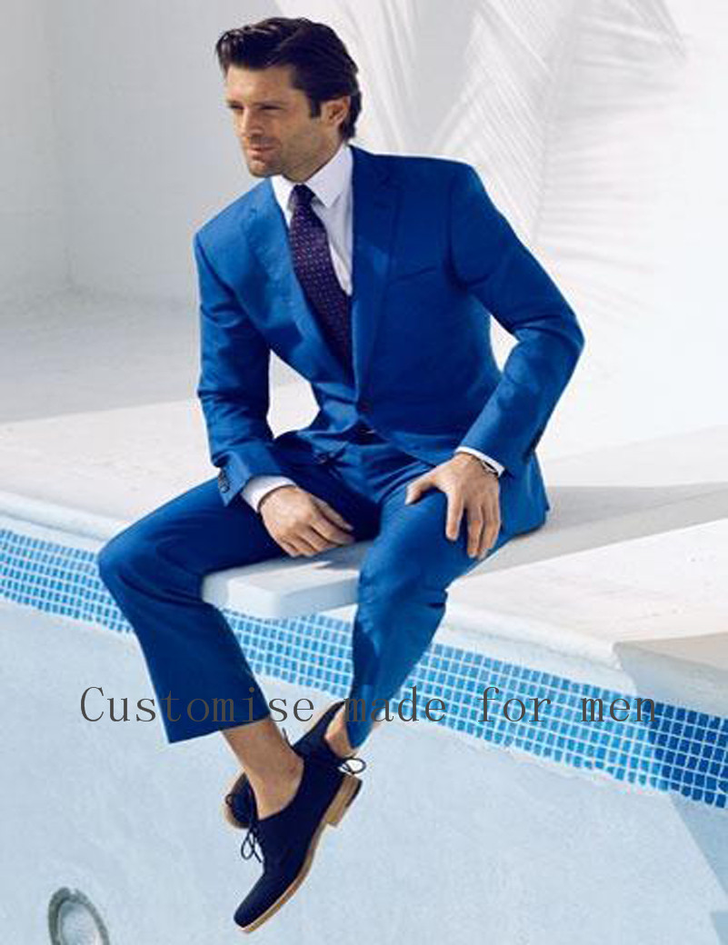 Fashion High Quality Royal Blue Men Business Suits With Pants ...