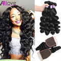 8A Malaysian Loose Wave With Closure 3 Bundles Malaysian Virgin Hair With Lace Closure Full Loose Wave Human Hair With Closure