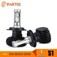 Partol S1 50W H4 H7 9005 9006 H11 H13 CSP LED Car Headlight Bulbs 8000LM 6500K
