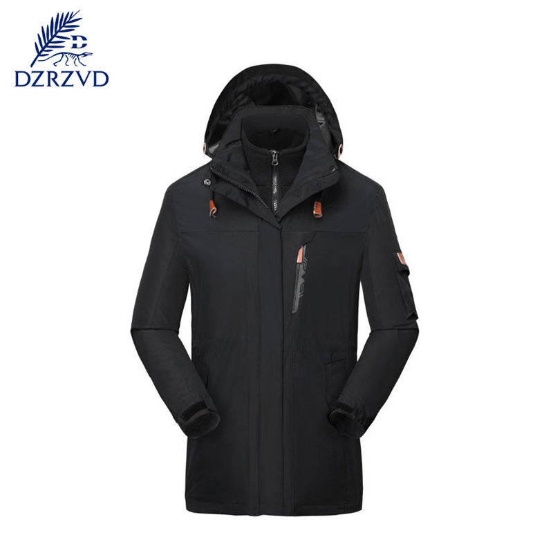 ФОТО Outdoor High quality windproof keep warm long pattern dust coat men climbing skiing long two-piece outfit overcoat coat