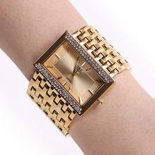 NEW!!! 2018 Brand New Stainless Steel Chain Fashion Gold Watch Women Wristwatches Quartz Watches(China)