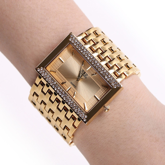 NEW!!! 2018 Brand New Stainless Steel Chain Fashion Gold Watch Women Wristwatches Quartz Watches