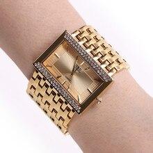 Nowy!!! 2020 Brand New stal nierdzewna stalowy łańcuch moda złoty zegarek kobiety zegarki kwarcowe