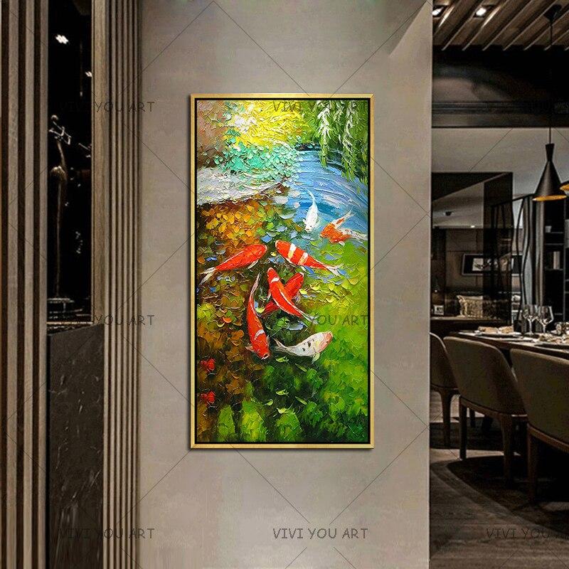 Immagine di Arte della parete Cinese Astratto Nove Koi Pesce Paesaggio Fatto A Mano Pittura A Olio Per Soggiorno Decorazione Moderna Della Tela opere d'arte - 4