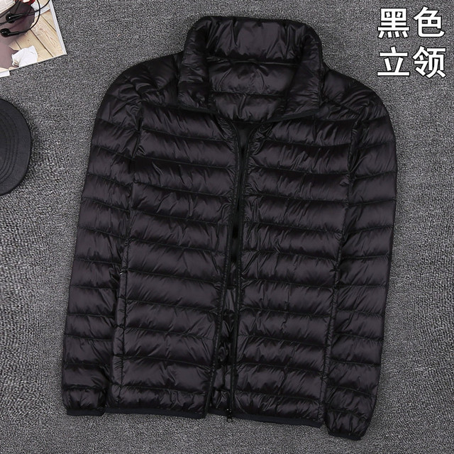 Autumn New Mens Clothes Fashion Boutique Solid Color Ultra-thin Light Comfortable Casual Hooded White Duck Down Jacket Men Coat 5