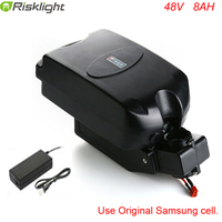 48v 8ah lithium battery frog type 48 volt 750w electric bicycle battery with 2A charger and bms