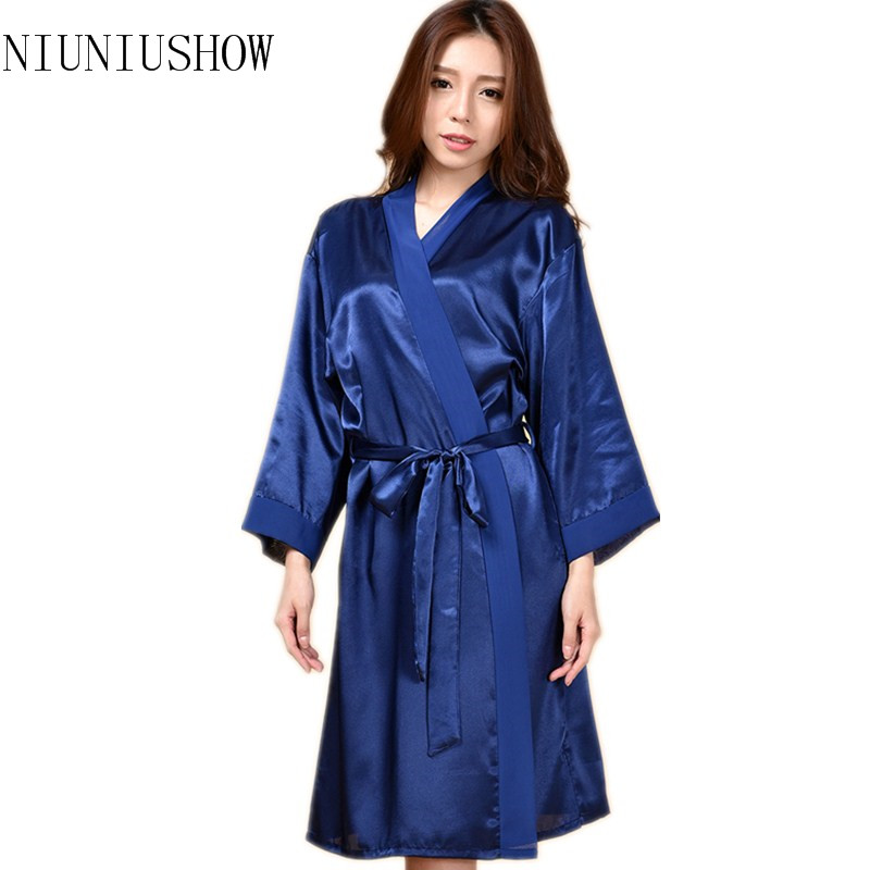 Top Quality New Hot Pink Chiese Women Silk Chiffon Robe Sexy Kimono Bath Gown Sleepwear Nightgown Casual Robe One Size T02