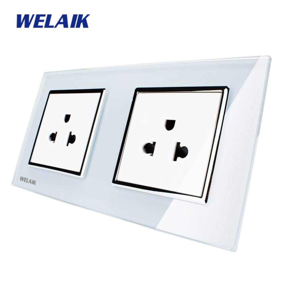 цена на WELAIK Glass Panel Wall United States Socket Wall Outlet White Black US standard power outlet AC110~250V A28A8AW/B